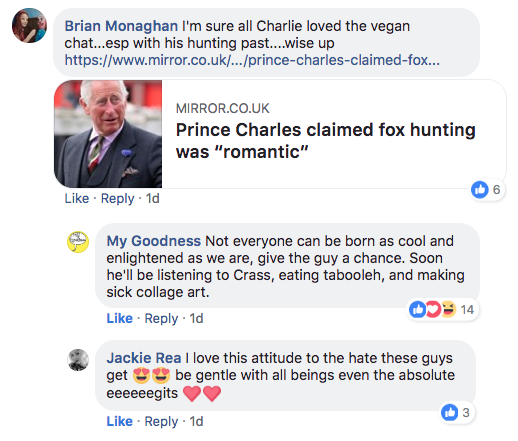 my goodness vegan Prince Charles